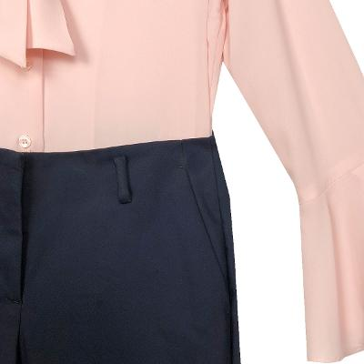 ribbon blouse pink & slacks navy